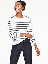 Stripe Button Detail Cotton Jumper