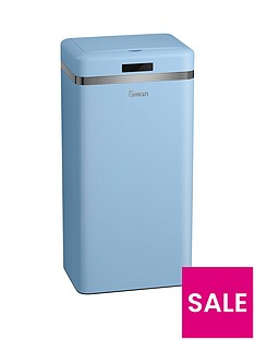 swan-retro-45-litre-square-sensor-bin-in-blue