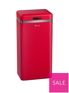 swan-retro-45-litre-square-sensor-bin-in-red