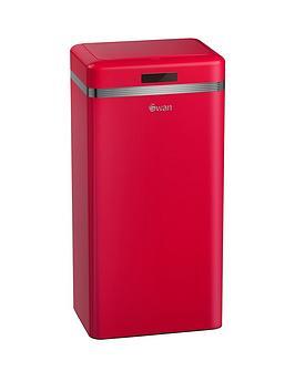 swan-retro-45-litre-square-sensor-bin-in-red