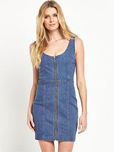 Panelled Zip Through Denim Dress