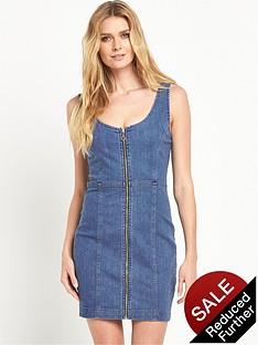 v-by-very-panelled-zip-through-denim-dress