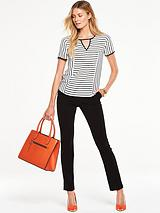 Striped Short Sleeved Top With Cut-Out Front