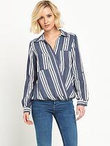 Stripe Wrap Blouse