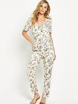 PRINTED ZIP DETAIL JUMPSUIT