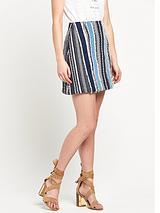 Denim Fringed Mini Skirt