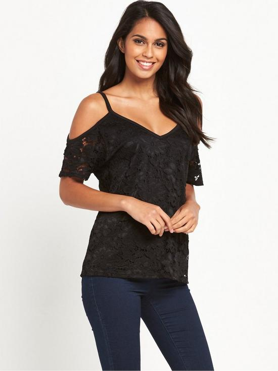 39be608ceaf377 V by Very Cold Shoulder Lace Top