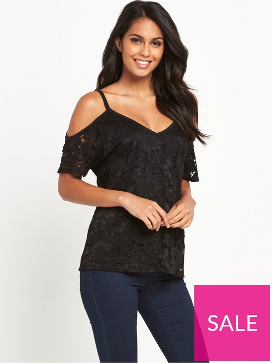 aab32afe34e V by Very Cold Shoulder Lace Top | very.co.uk