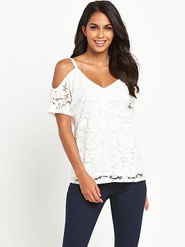 V By Very Cold Shoulder Lace Top