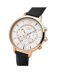 lipsy-lipsy-white-dial-rose-gold-tone-printed-subdials-black-pu-strap-ladies-watch