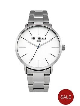 ben-sherman-matte-white-dial-silver-tone-stainless-steelnbspbracelet-mens-watch