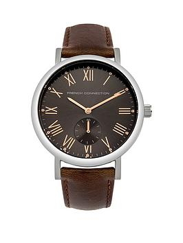 french connection french connection cool grey satin sunray dial french connection french connection cool grey satin sunray dial brown padded leather strap mens watch very co uk
