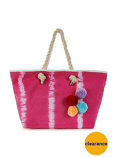 v-by-very-tie-dye-pom-pom-tassel-beach-bag