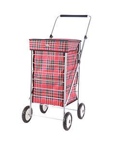 sabichi-red-check-4-wheel-trolley