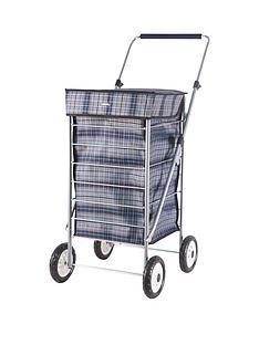 sabichi-sabichi-blue-check-4-wheel-trolley