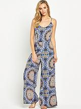 TILE PRINTED WIDE LEG JUMPSUIT