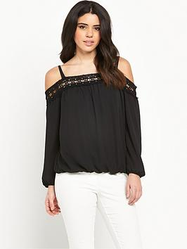 lipsy-lace-cold-shoulder-bardot-blouse
