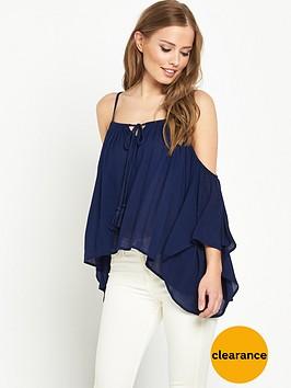 v-by-very-crinkle-strappy-cold-shoulder-blouse