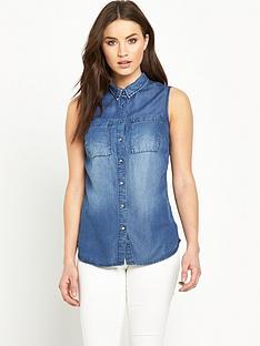 v-by-very-sleeveless-denim-shirt