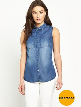 v-by-very-sleeveless-denim-shirt