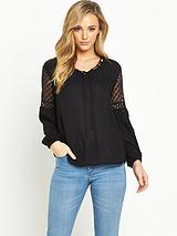 CROCHET INSERT SLEEVE BLOUSE