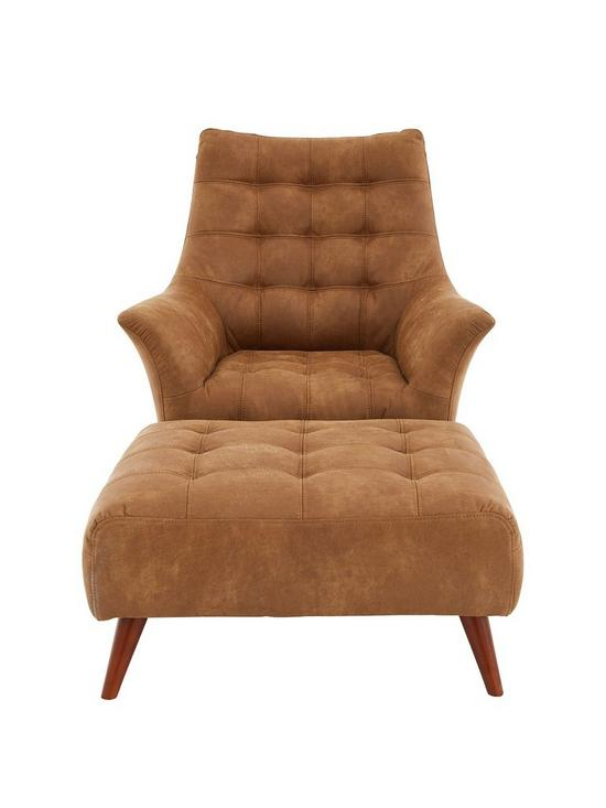 Ideal Home Salir Faux Leather Chair And Footstool | Very.co.uk
