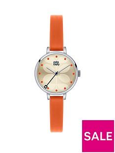 orla-kiely-orange-leather-strap-ladies-watch