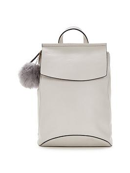 miss-selfridge-pom-pom-backpack-stone