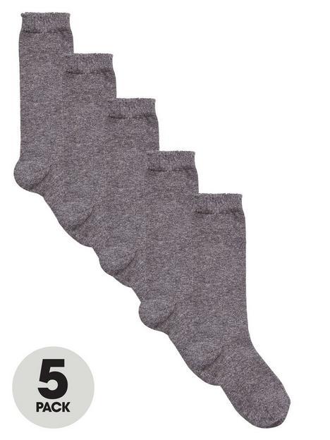 v-by-very-girls-knee-high-socks-5-pack-grey