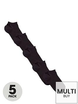 v-by-very-unisex-black-trainer-liner-socks-5-pack