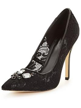 Photo of V by very dane embellished occasion lace court shoe - black