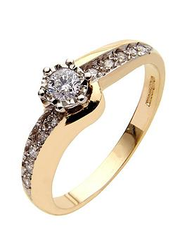 love-diamond-9-carat-yellow-gold-25-point-diamond-illusion-set-solitaire-twist-ring-with-diamond-set-shoulders