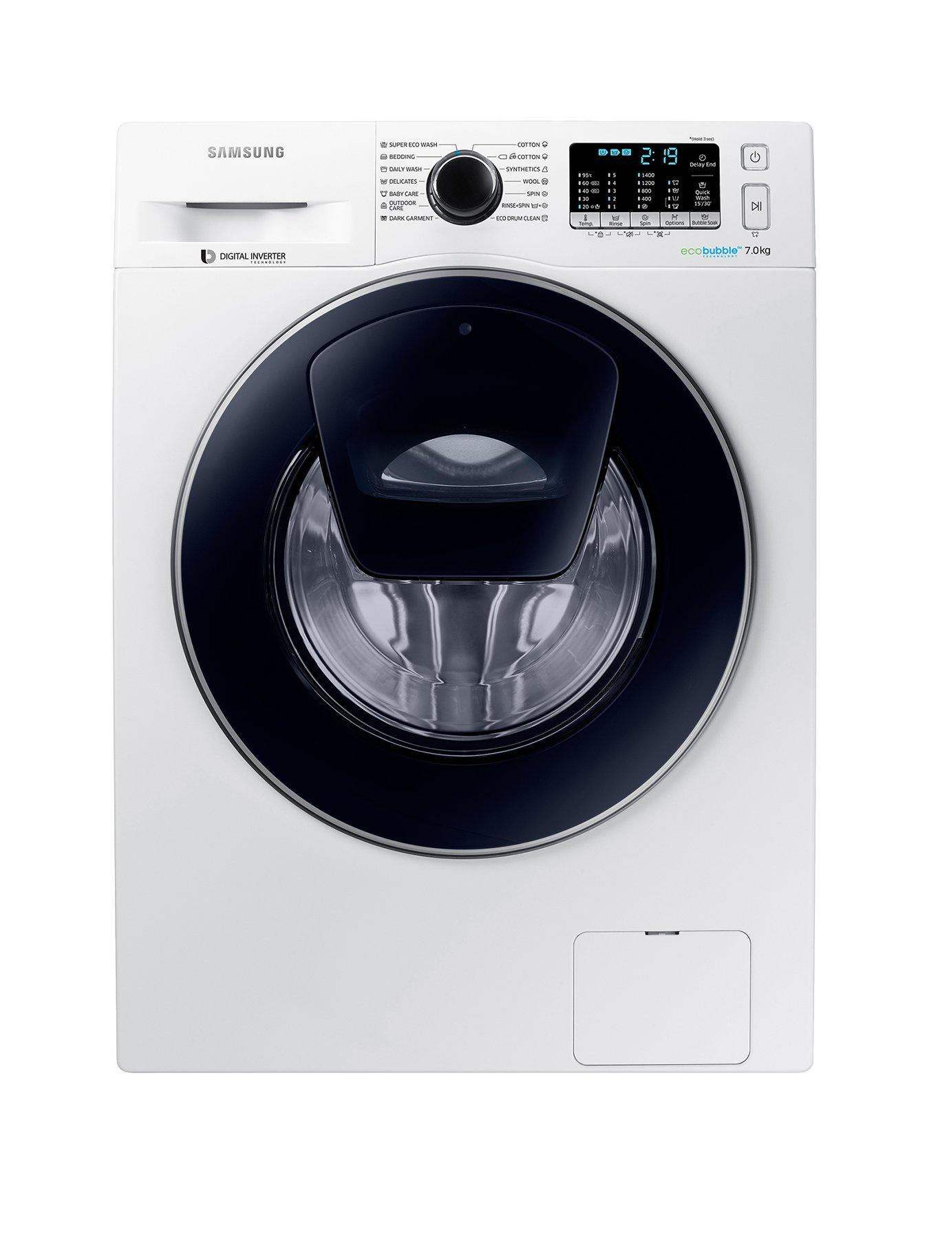samsung 7kg load spin addwash washing machine with ecobubble technology white