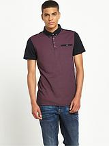 Short Sleeved Printed Front Polo Shirt