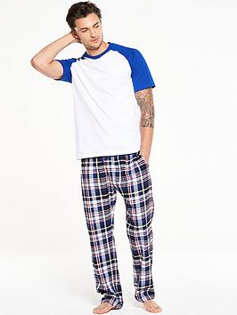 v-by-very-woven-check-pant-pj-set