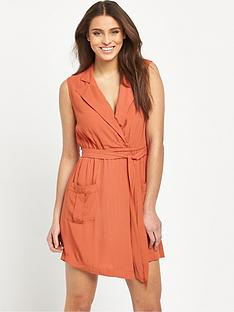 mink-pink-little-lolita-sleeveless-faux-wrap-soft-shirt-dress