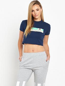 adidas-stellasport-crop-logo-t-shirt-navy