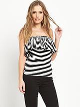 Stripe Jersey Bardot Top