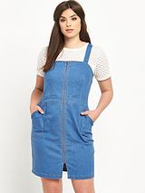 Zip Front Denim Pinafore