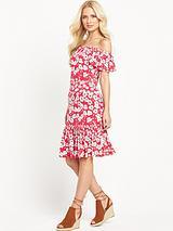 Frill Hem BardotJersey Dress