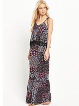 Lace Tier Jersey Maxi Dress