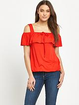 Wide Strap Frill Detail Top