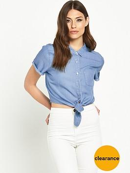 miss-selfridge-tie-front-cotton-shirt