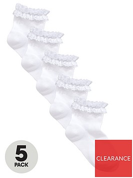 v-by-very-5-pack-girls-frilly-occasion-ankle-socks-white