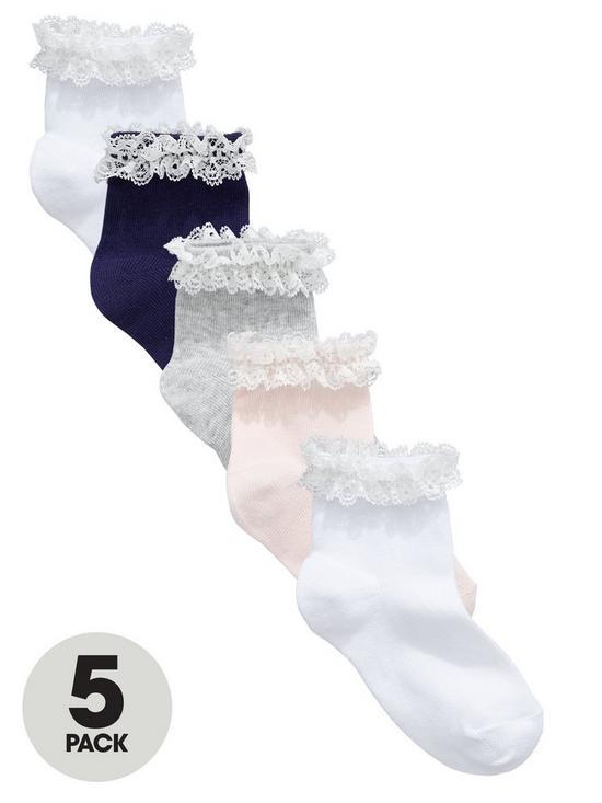 5b0549af19 5 Pack Girls Frill Ankle Socks - Multi