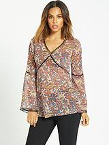 Ladder Trim Paisley Print Blouse