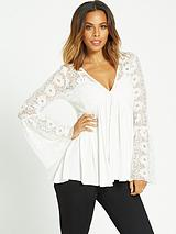 FLORAL LACE FLUTE SLEEVE JERSEY TOP