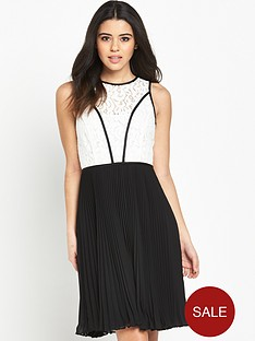wallis-mono-lace-top-pleat-dress