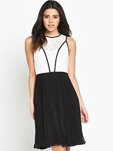 wallis-wallis-mono-lace-top-pleat-dress