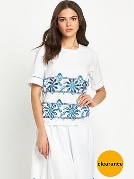 warehouse-embroidered-cut-work-t-shirtnbsp